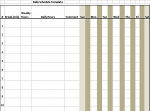 Template 7 Day Schedule Template in Excel Format
