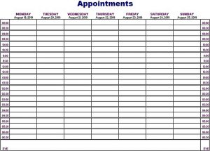 Template Appointments Schedule Template