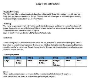Template Best Weekly Workout Schedule Template