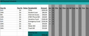 Template Bill Payment Schedule Template Excel Format