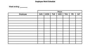 Template Blank Employee Daily Work Schedule Template