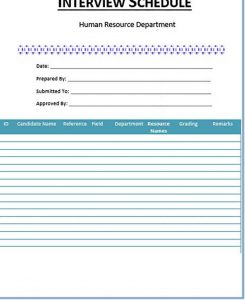 Template Blank Interview Schedule Template