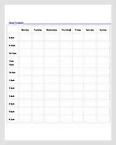 Template Blank Study Timetable Schedule Template