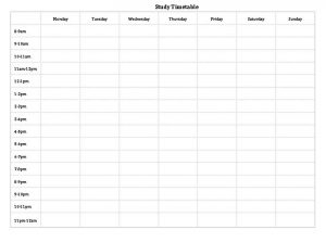 Template Blank Study Timetable Template