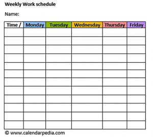Template Blank Weekly Employee Work Schedule Template Word Doc