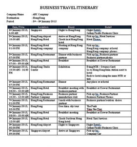 Template Business Itinerary Schedule Template Word Doc 1