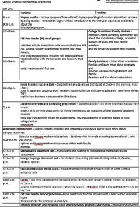 Template College Freshers Orientation Schedule Template