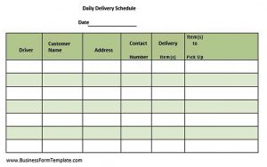 Template Company Daily Delivery Schedule Template PDF Download