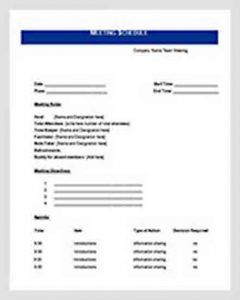 Template Company Meeting Schedule Template Word Doc 1