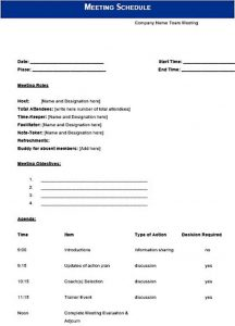 Template Company Meeting Schedule Template Word Doc