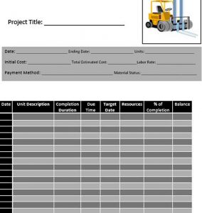 Template Construction Project Work Schedule Template