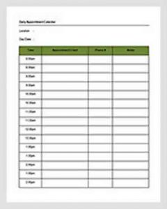 Template Daily Appointment Calendar Schedule Template Word Doc