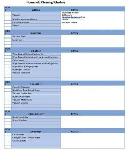 Template Daily House Cleaning Schedule Template