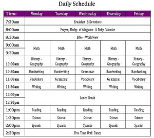 Template Daily Schedule 1