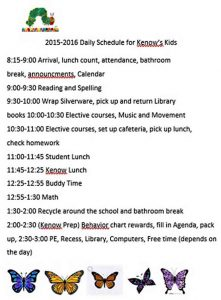 Template Daily Schedule for Kids
