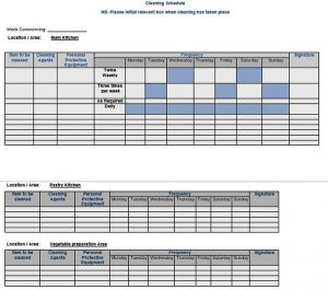 Template Doc Format Free Cleaning Schedule Template