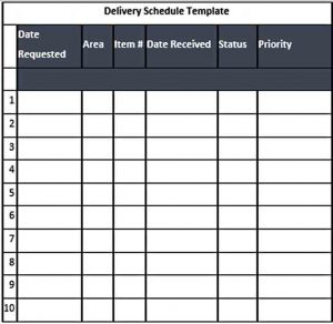 Template Editable Blank Delivery Schedule Template Word Doc