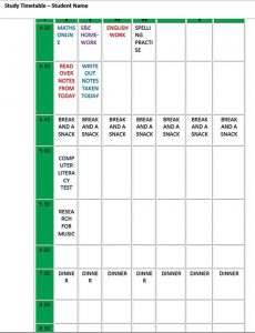 Template Editable Homework Study Timetable Schedule Template Word Format