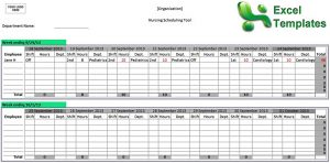 Template Editable Nurse Staffing Schedule Template Free in Excel