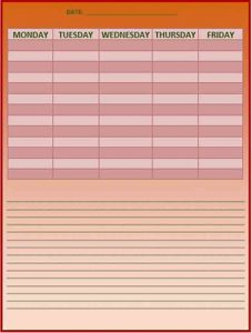 Template Employee Work Schedule in MS Word
