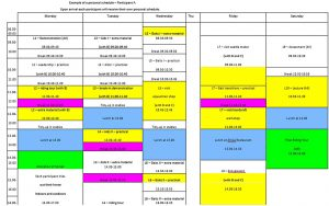 Template Example of Personal Schedule