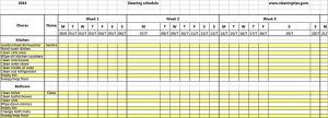 Template Excel Weekly Cleaning Schedule Template.doc