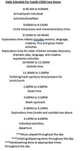 Template Family Child Care Daily Schedule