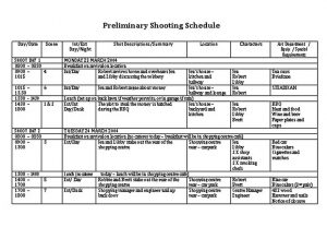 Template Film Preliminary Shooting Schedule Template
