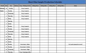 Template Film Production Schedule Template Download