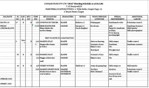 Template Film Shooting Schedule Template Free Excel Format