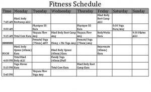 Template Fitness Schedule Template