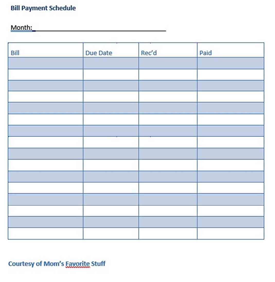Bill Payment Schedule Sample Template Think Moldova