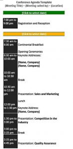 Template Free Conference Schedule Template Presentation Sample