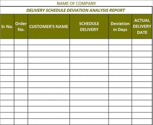 Template Free Delivery Schedule Deviation Analysis Report Printable