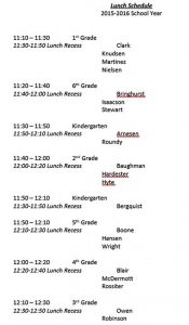 Template Free Lunch Schedule