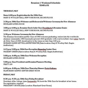 Template Free Reunion Weekend Schedule Template PDF