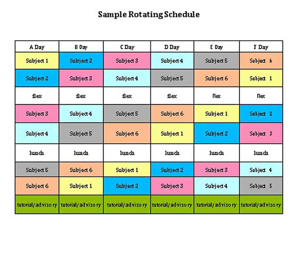 Rotating Schedule Templates Think Moldova