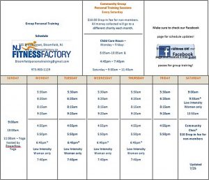 Template Group Personal Training Schedule
