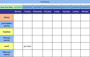 Template Holiday Trip Planning Schedule Template Excel