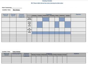 Template Kitchen Cleaning Schedule Template Word Doc