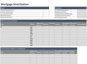 Template Mortgage Loan Amortization Schedule