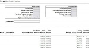 Template Mortgage Loan Payment Schedule