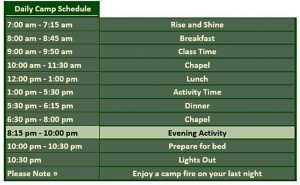 Template Outing Daily Camp Schedule Template Word Doc