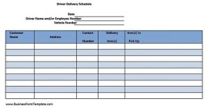 Template Printable Driver Delivery Schedule Template Download