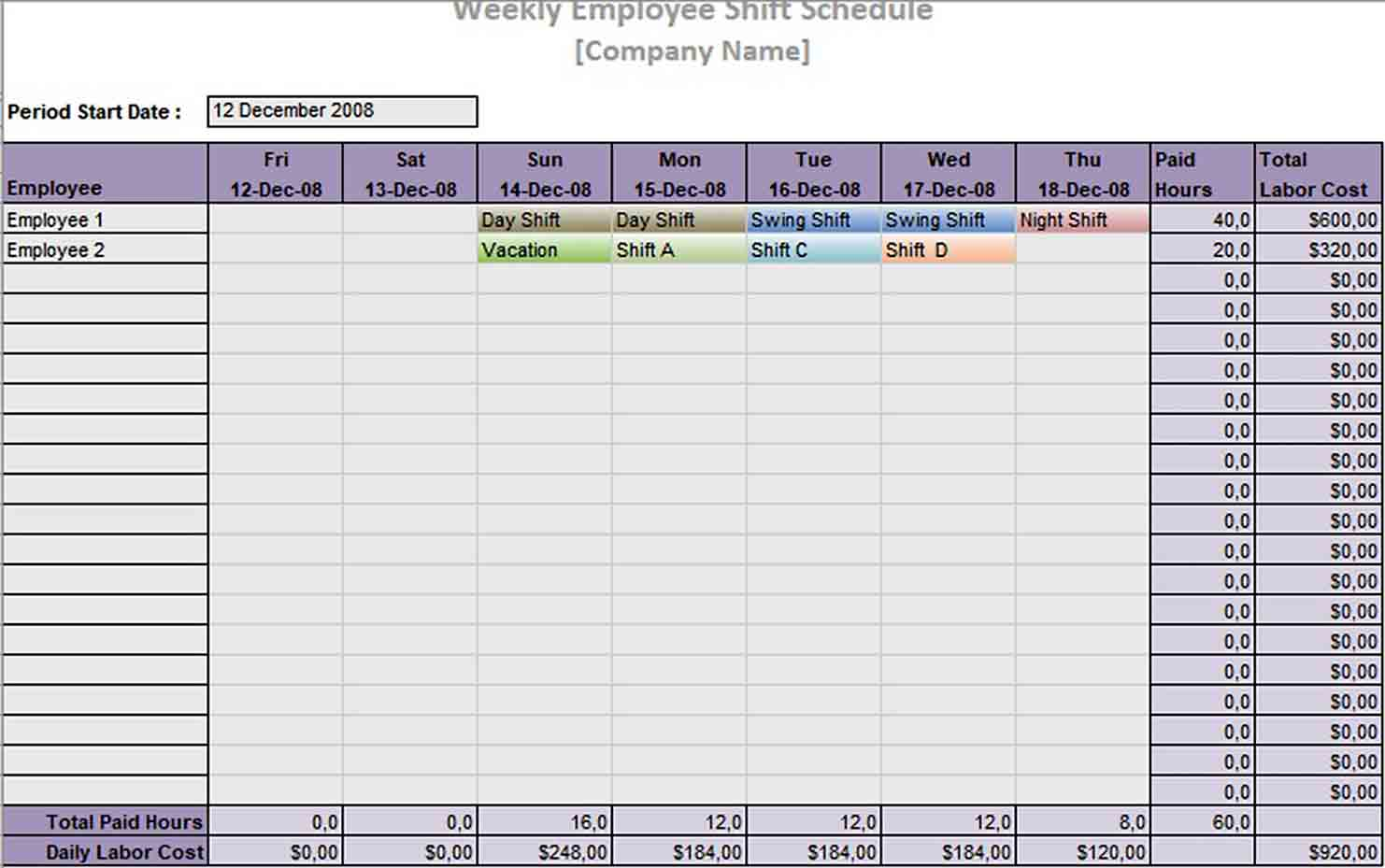 Daily Work Schedule Template | think moldova
