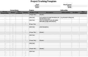 Template Project Tracking