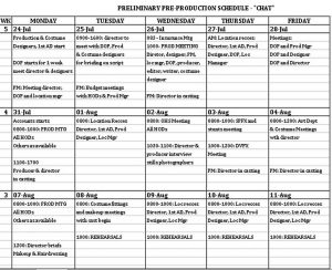 Template Schedule Template for Pre Production Excel Format