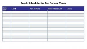 Template Soccer Snack Schedule Template