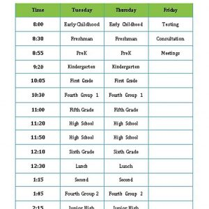 Template Speech Therapy Schedule Template