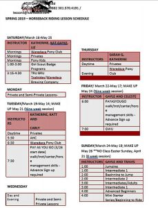 Template Spring Lesson Schedule